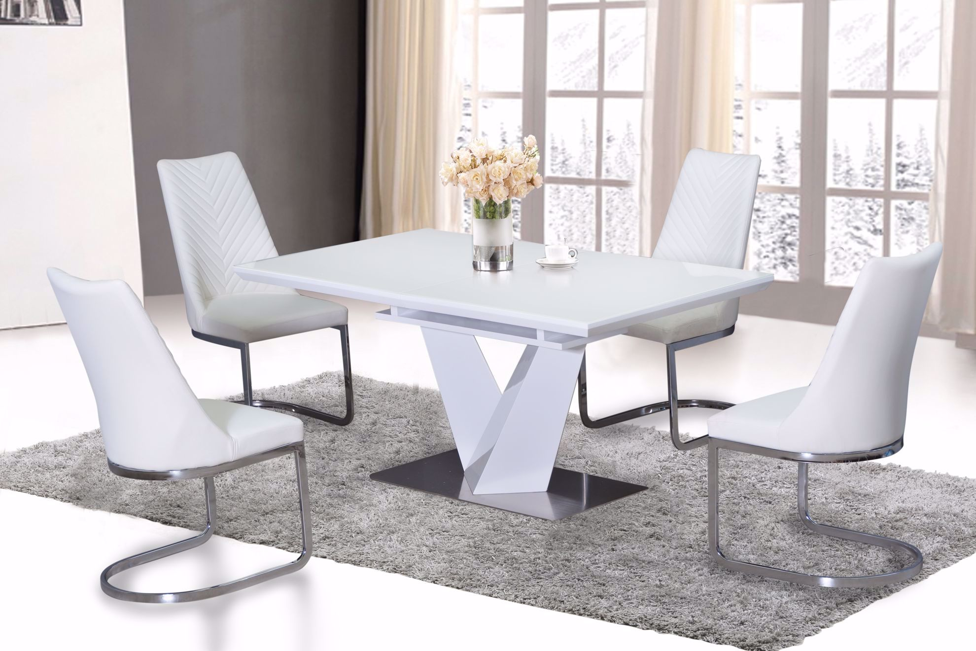 Nikole Glass Top Extendable Dining Table