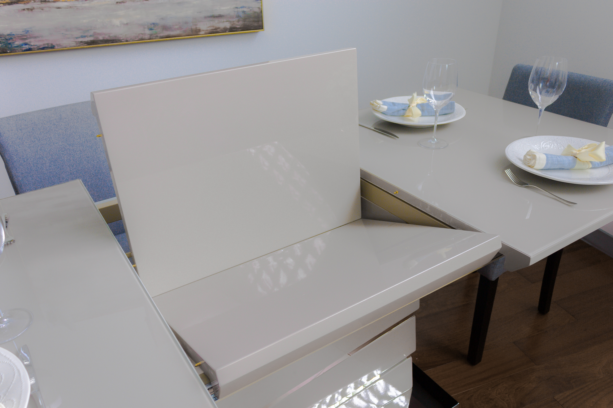 Picture of La Manche Glass Top Extendable Dining Table