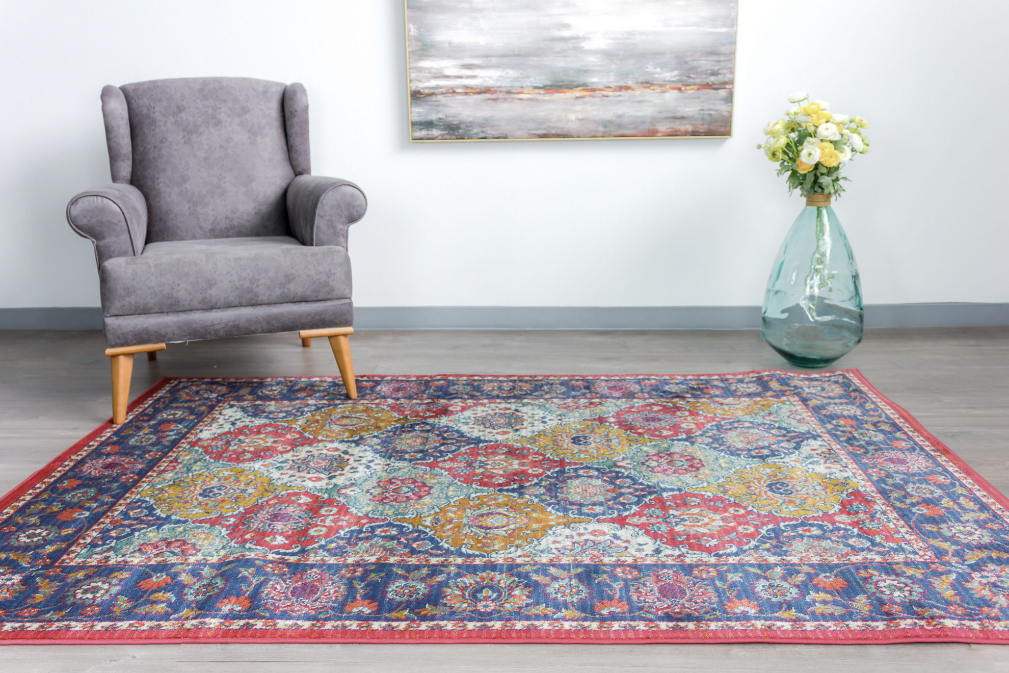 Picture of Leyla Dark Rose/Dark Blue Area Rug 8x10ft