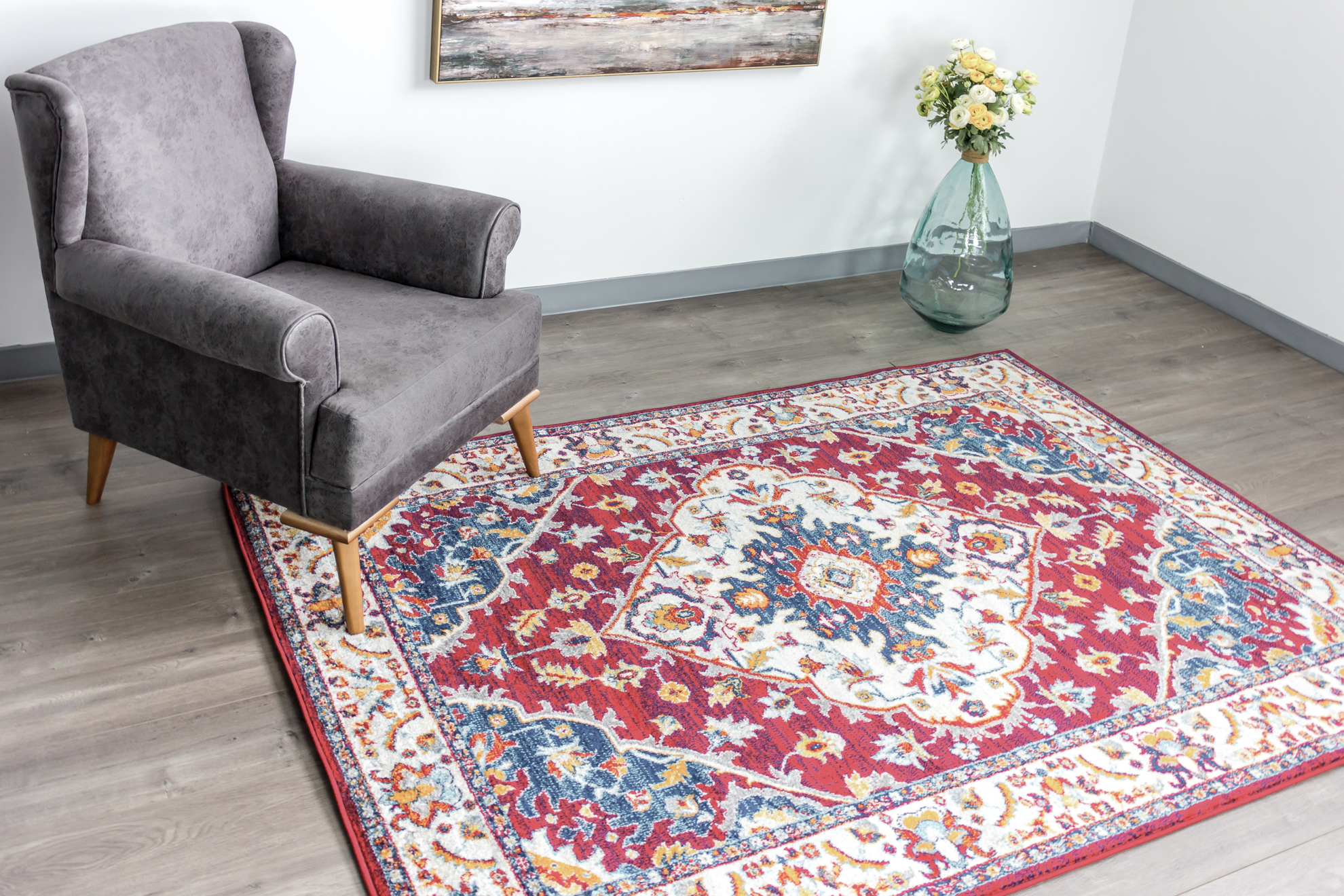 Picture of Naz Red/Blue Area Rug 5X7FT